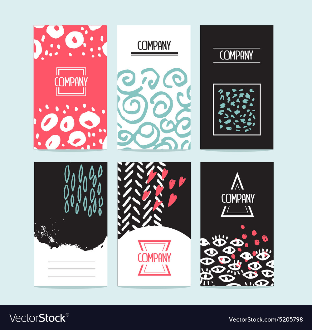 Hand drawn 6 cards with trendy textures and vector image
