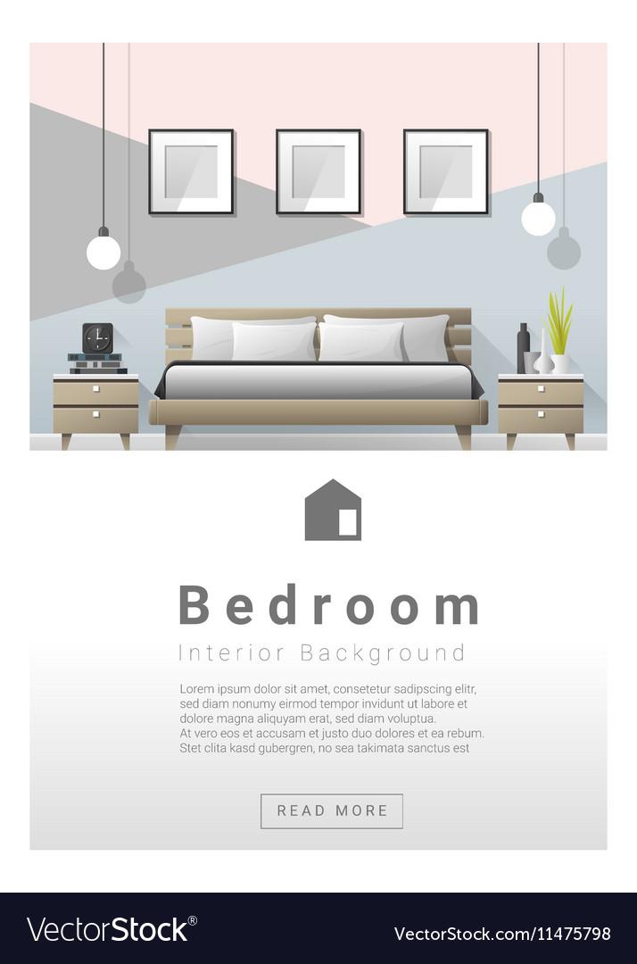 Interior design Modern bedroom banner 2 vector image