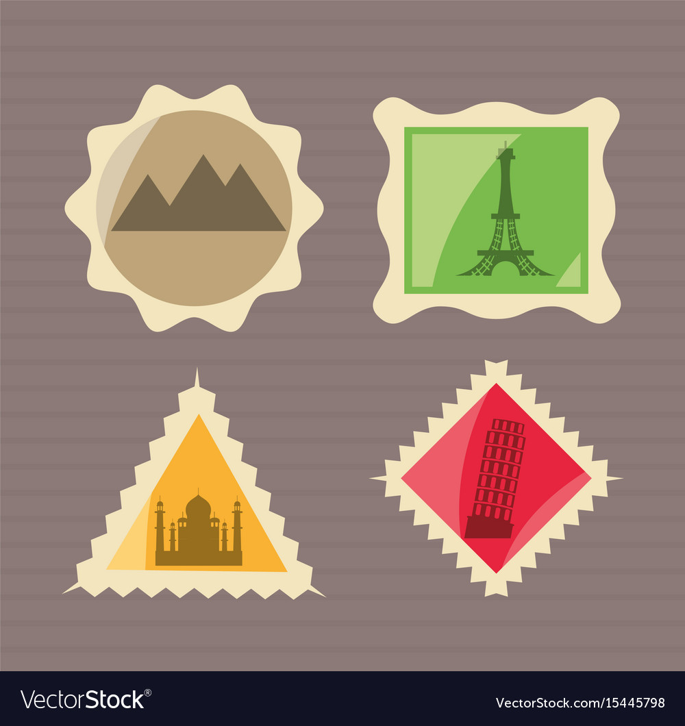 Set landscape and archictures towers pictures vector image