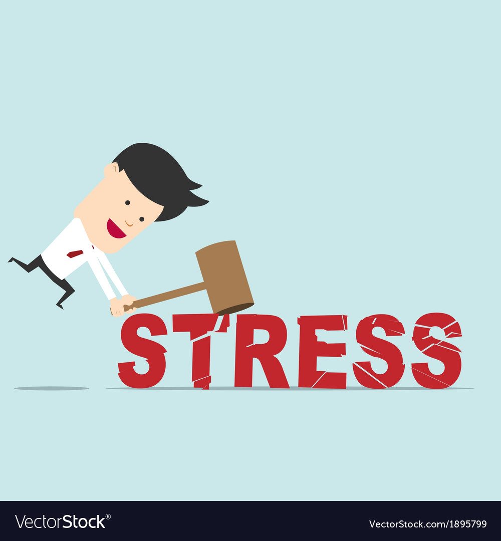 Business man use hammer try to break stress word Vector Image  Try Word