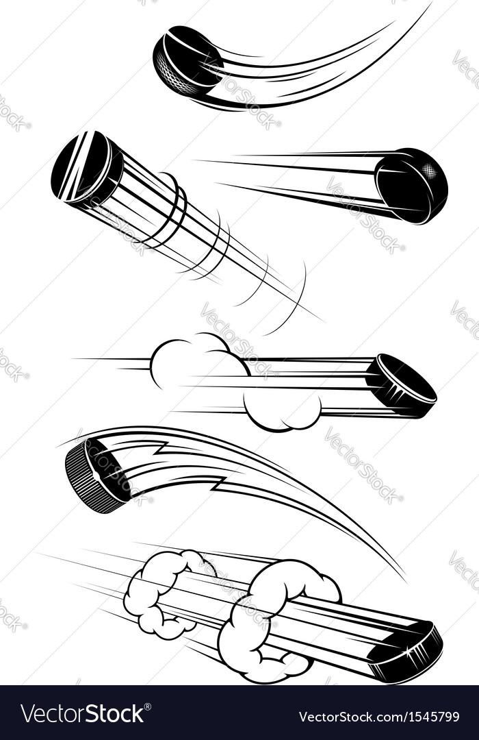 Flying hockey pucks vector image
