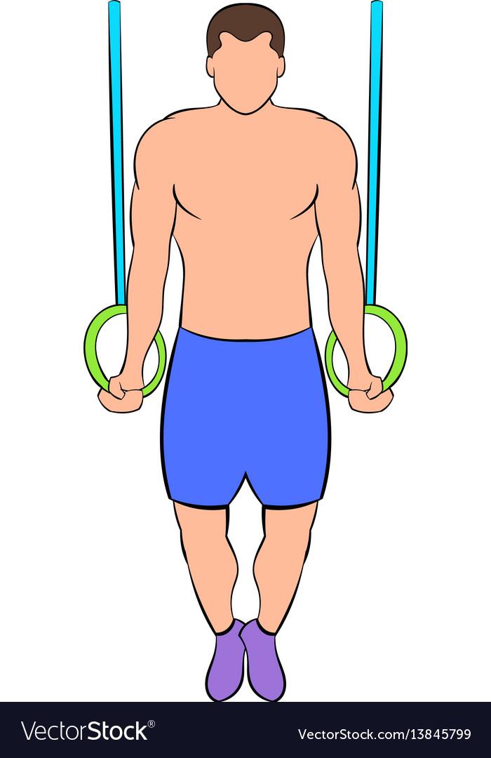 Man training on gymnastic rings icon cartoon vector image