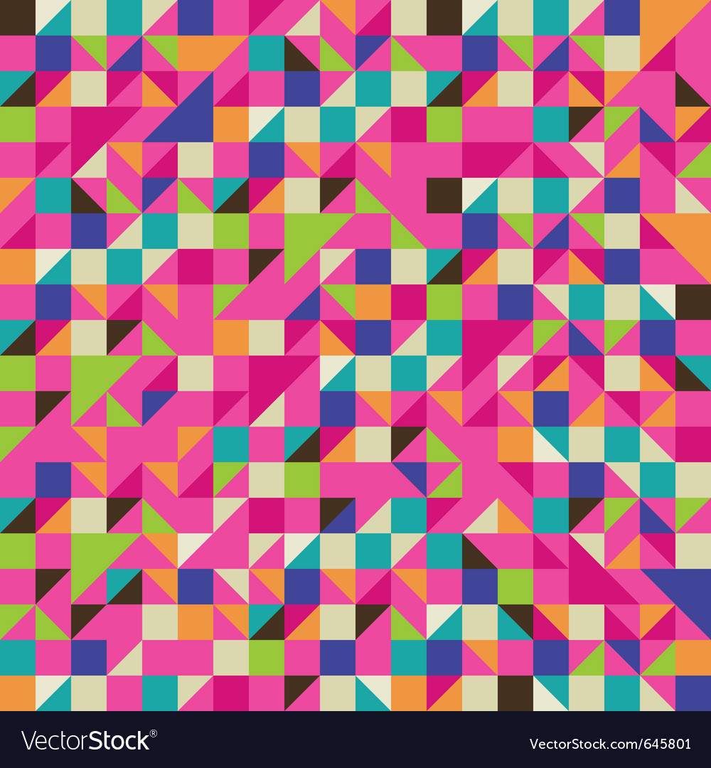 Colorful mosaic with triangles and squares vector image