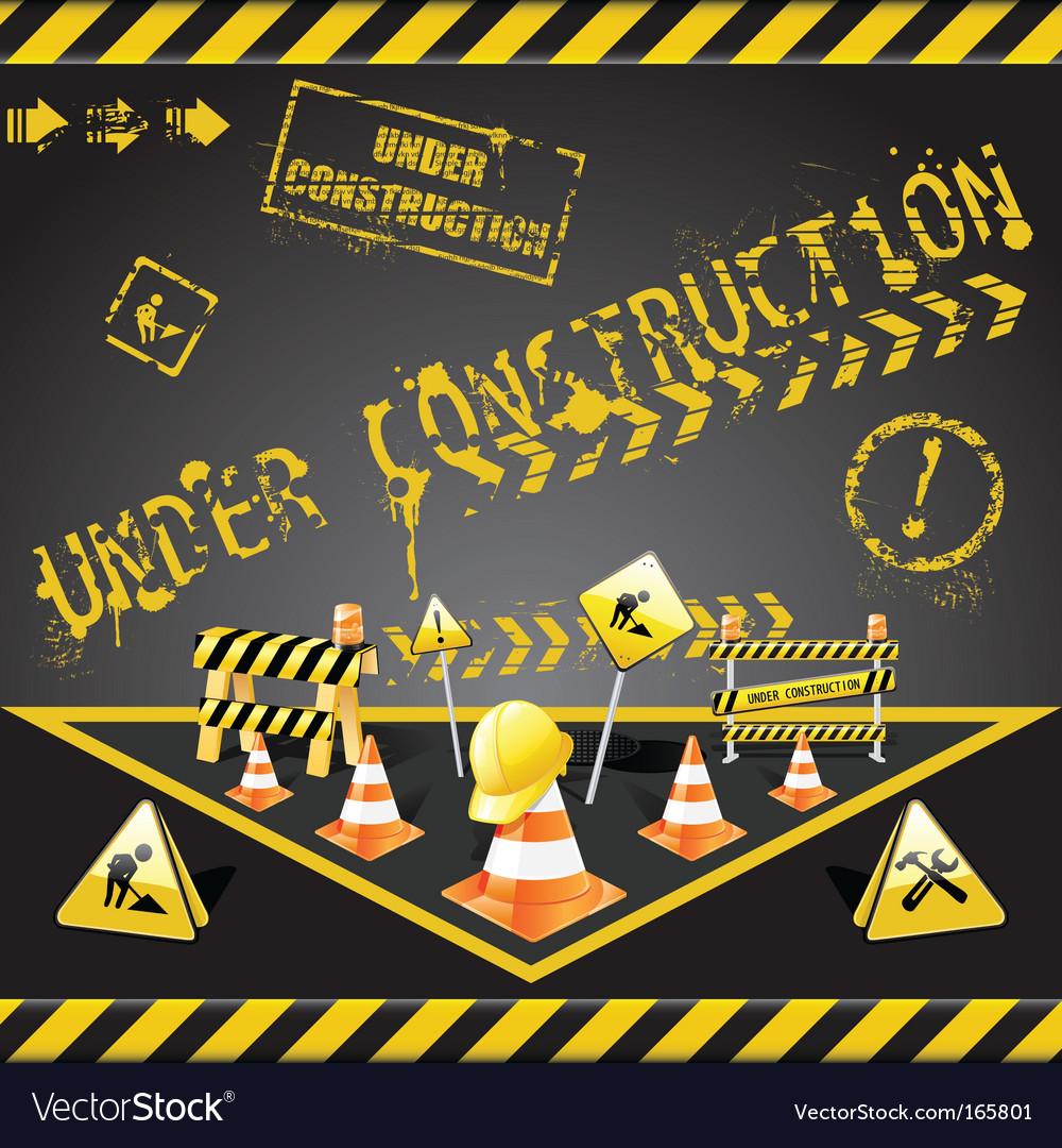 Under construction warning vector image