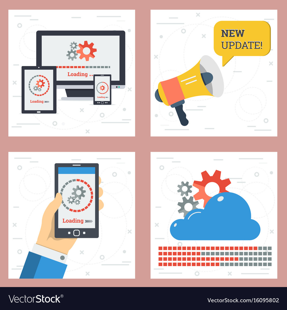 Four square concept of updates vector image