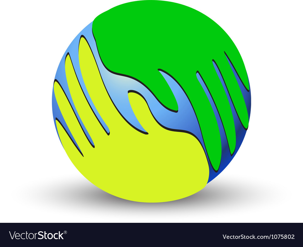 Green hands over the world vector image