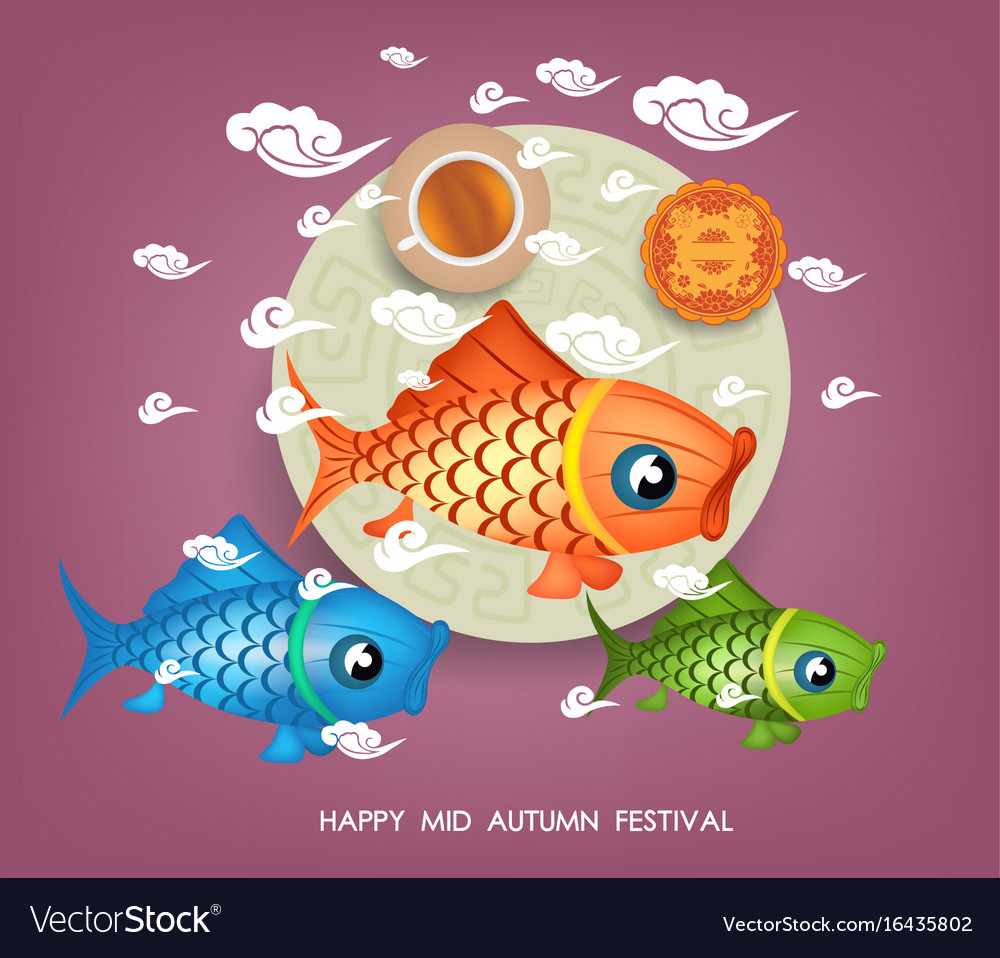 Mid autumn lotus lantern festival background with vector image