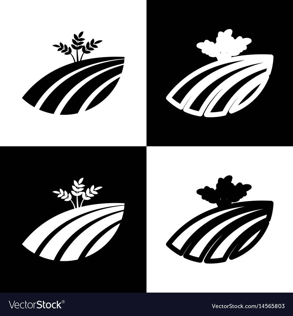 Wheat field sign black and white icons vector image