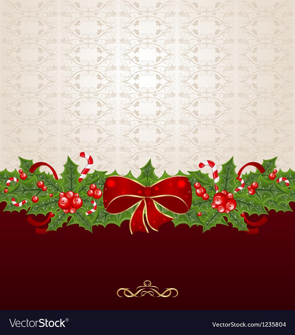 Beautiful Christmas background with mistletoe bow vector image