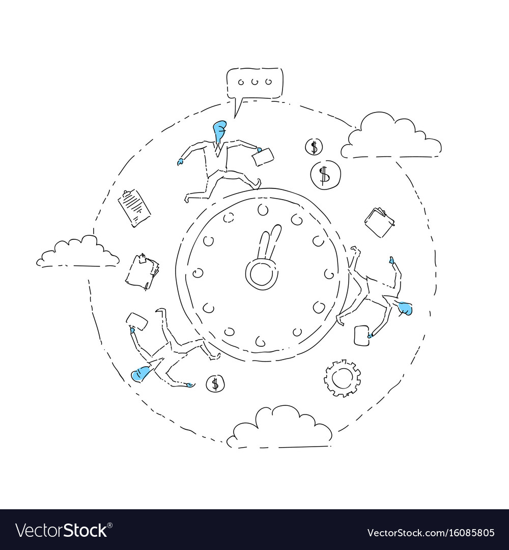 Business people group run clock businesspeople vector image