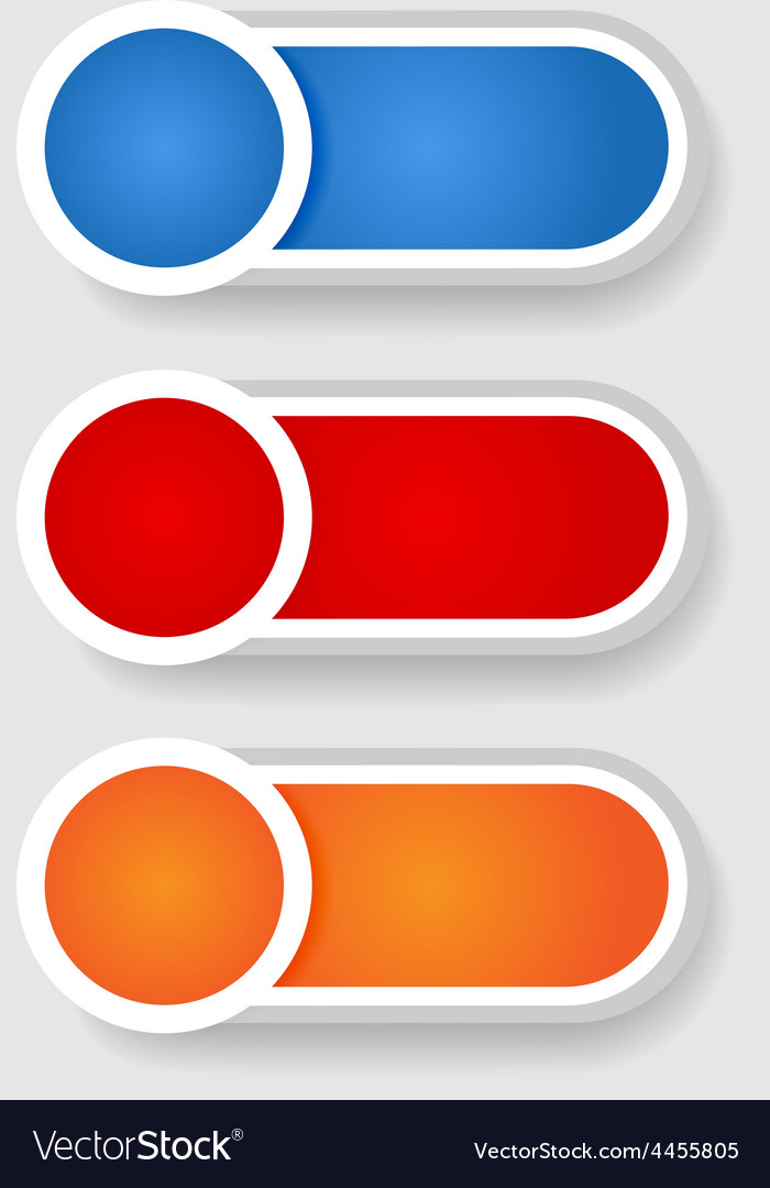 Set 2 of circle and cylinder labels vector image
