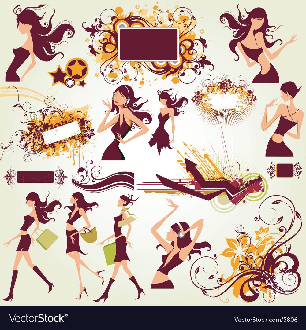 Fashion model illustration elements vector image