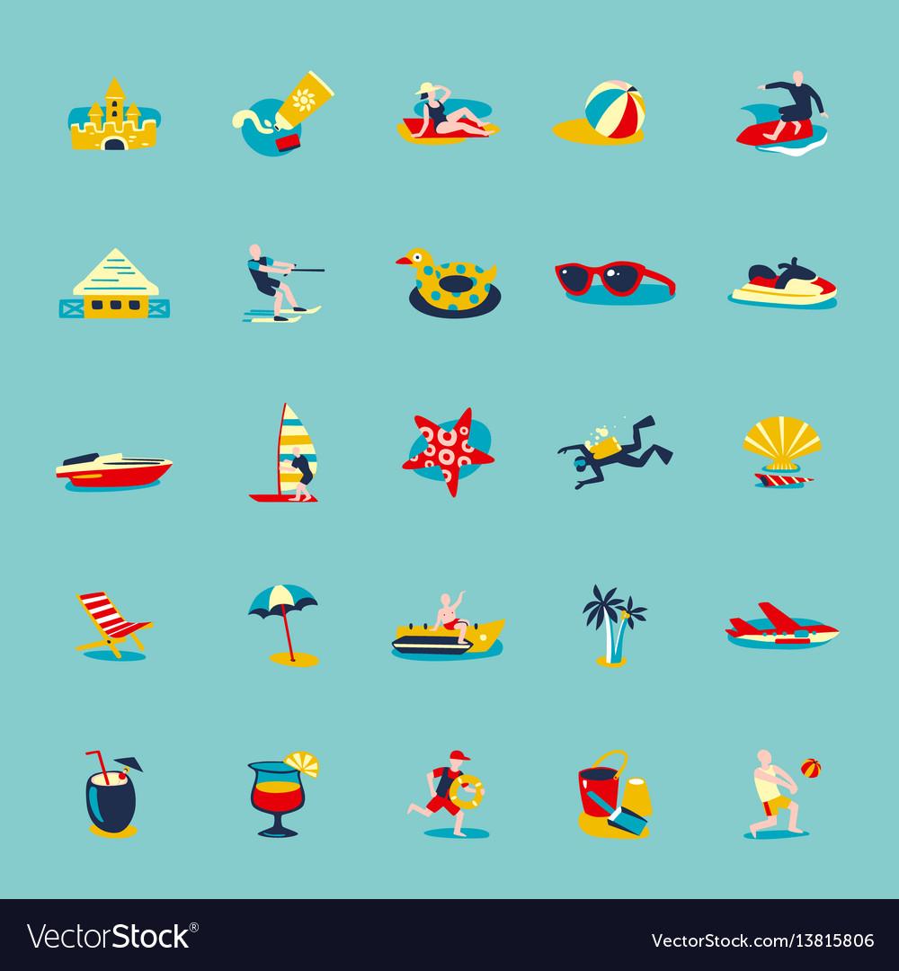 Summer beach retro icons background set vector image