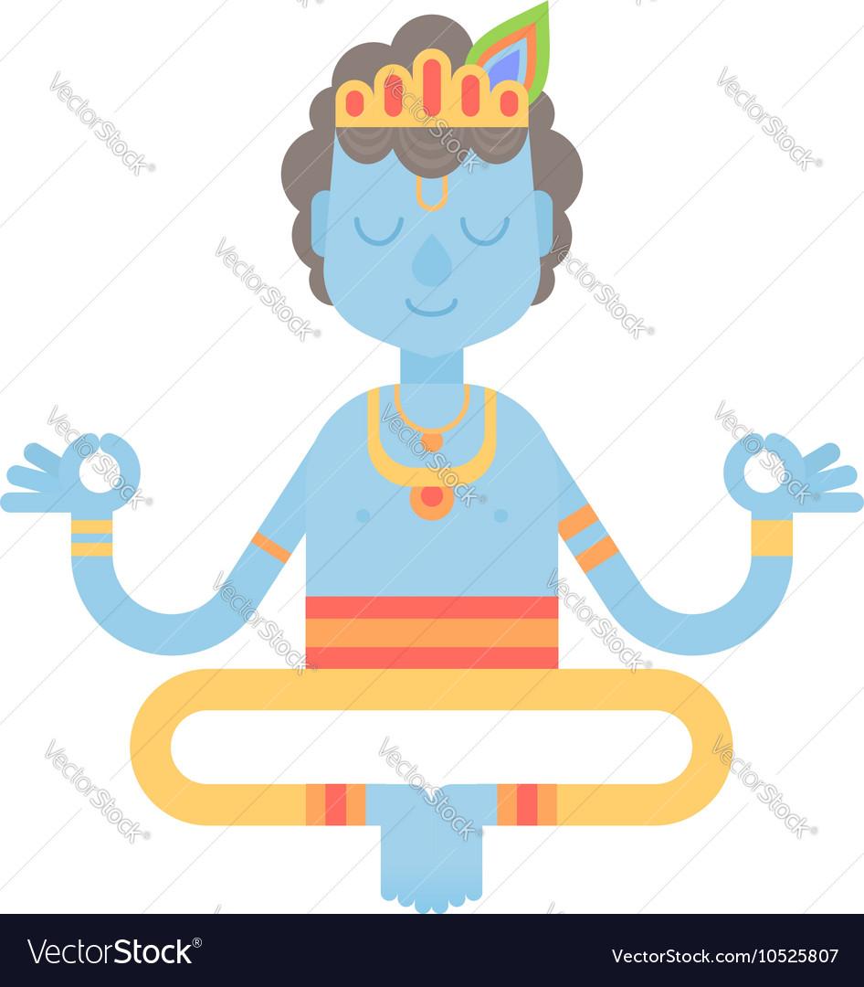 Flat meditating cartoon Krishna character vector image