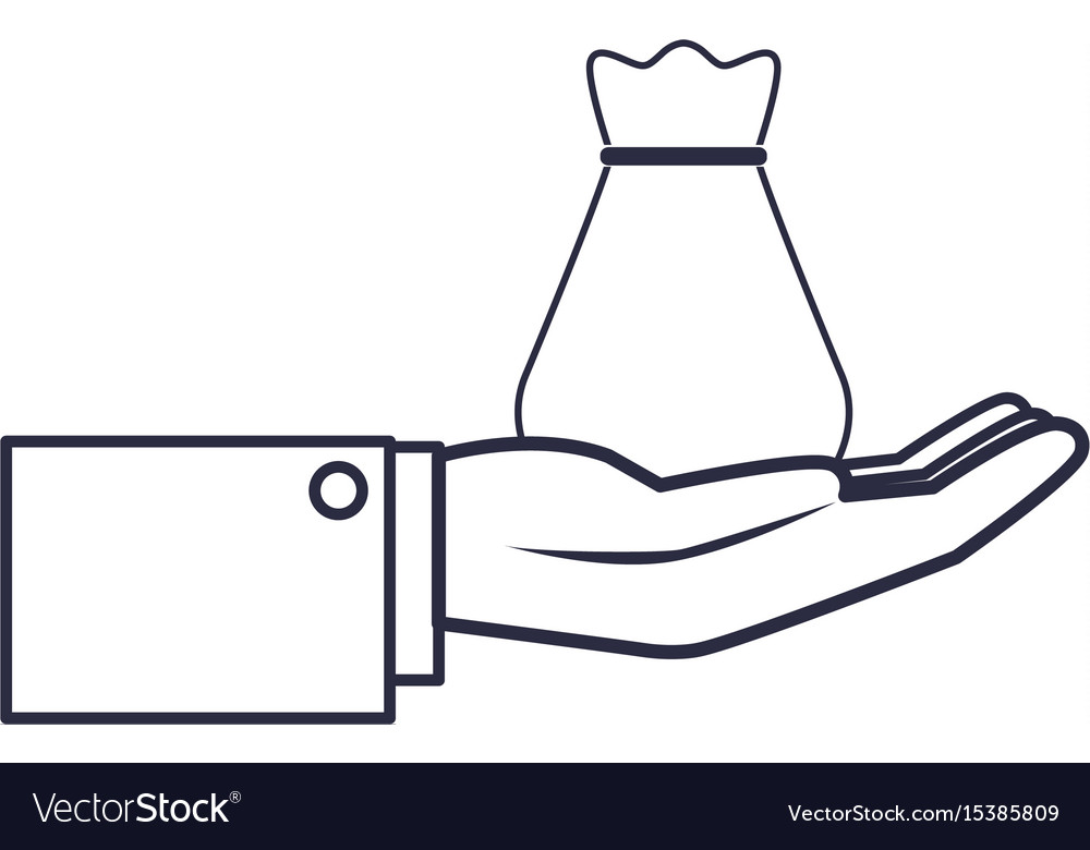 Hand business man holding bag money safety vector image