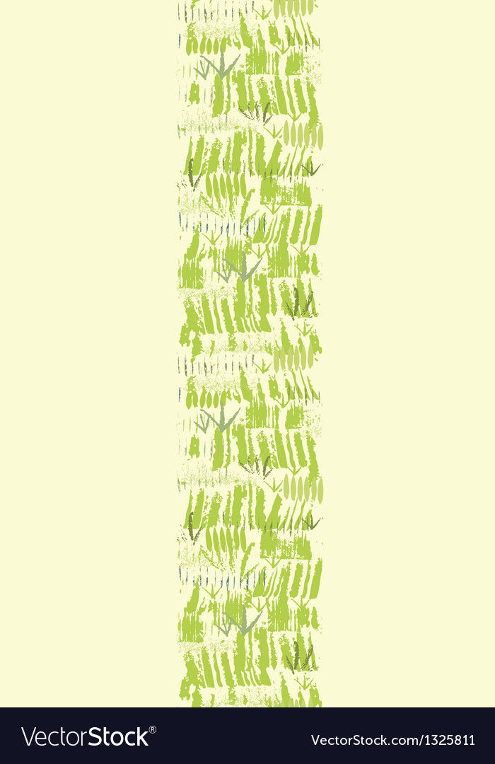 Painting of green grass vertical seamless pattern vector image