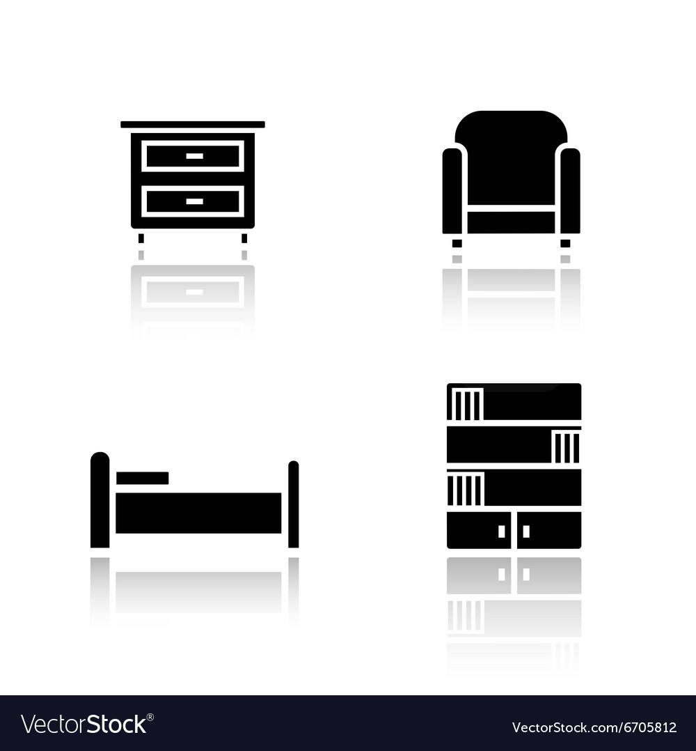 Bedroom furniture drop shadow icons set vector image