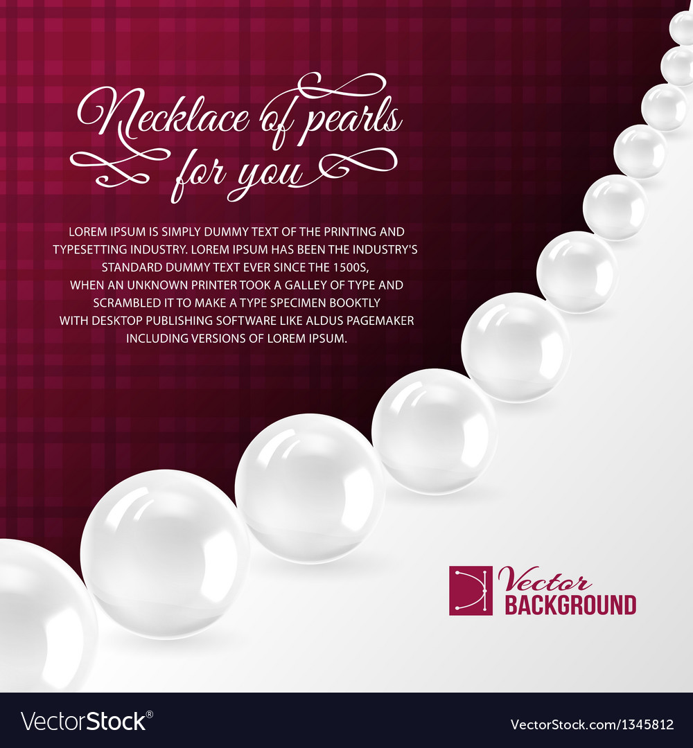 Pearl necklace on red vector image