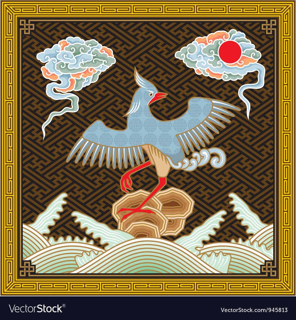 Chinese Detailed Phoenix Pattern vector image