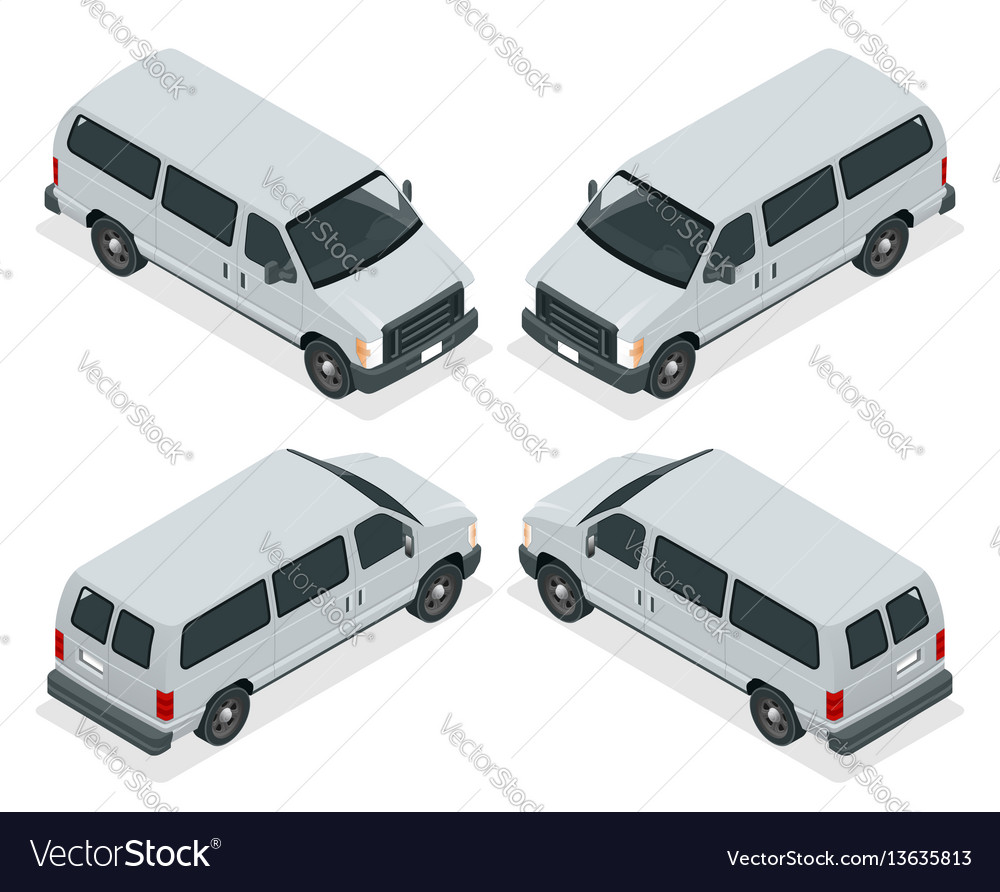 Commercial van icons set isolated on a white vector image