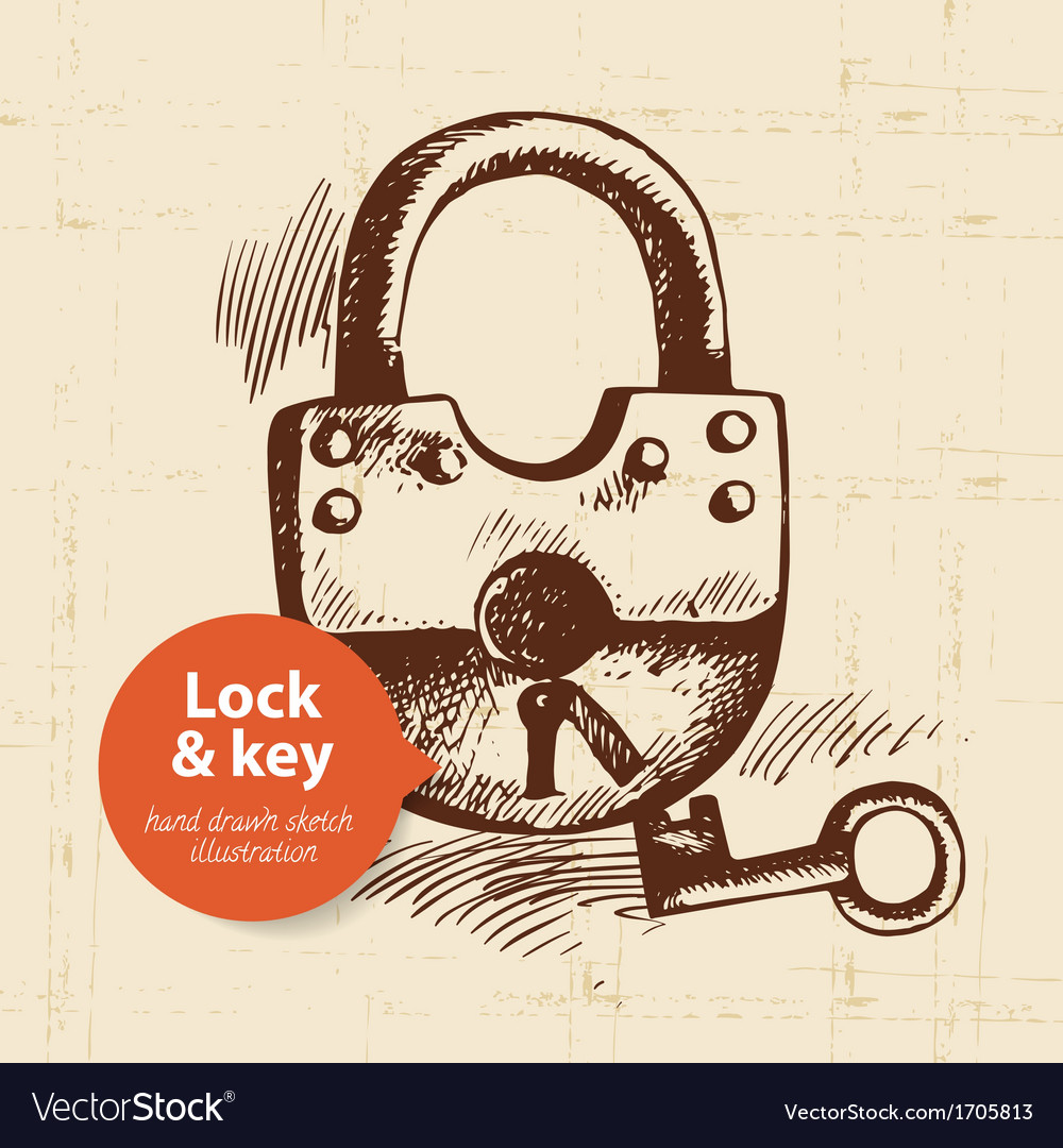 Hand drawn vintage lock and key banner vector image