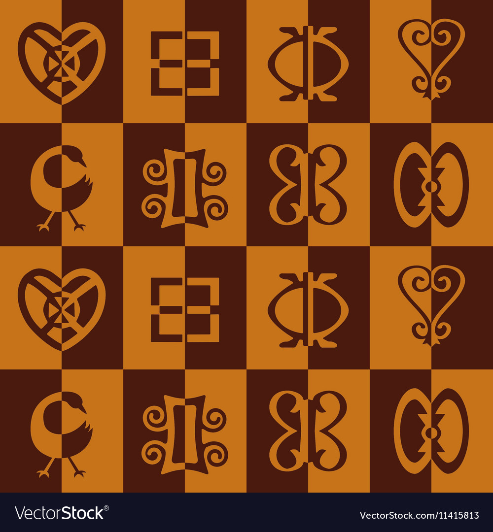 Seamless pattern with adinkra symbols royalty free vector seamless pattern with adinkra symbols vector image biocorpaavc Images