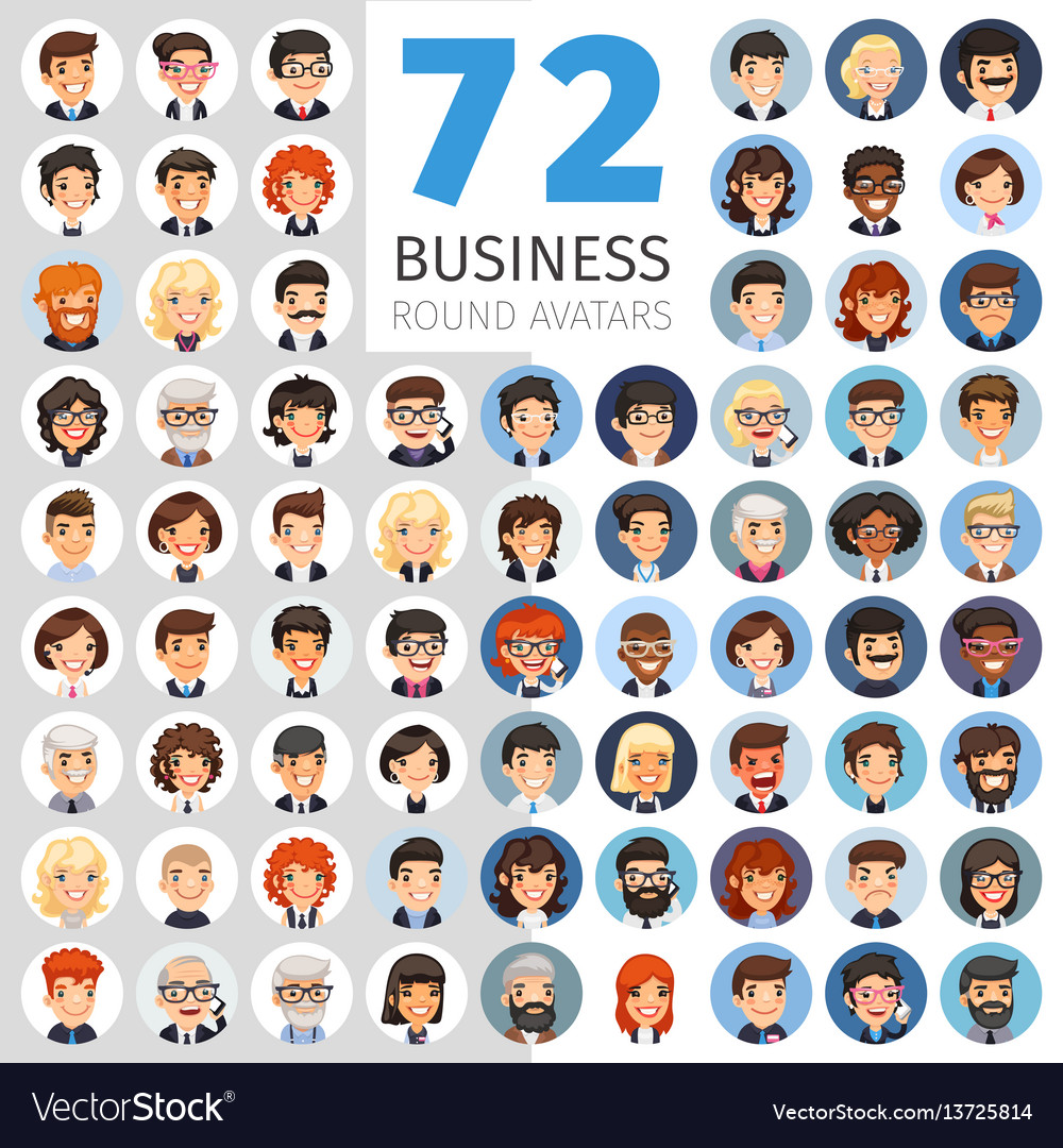 Flat businessmen round avatars big collection vector image