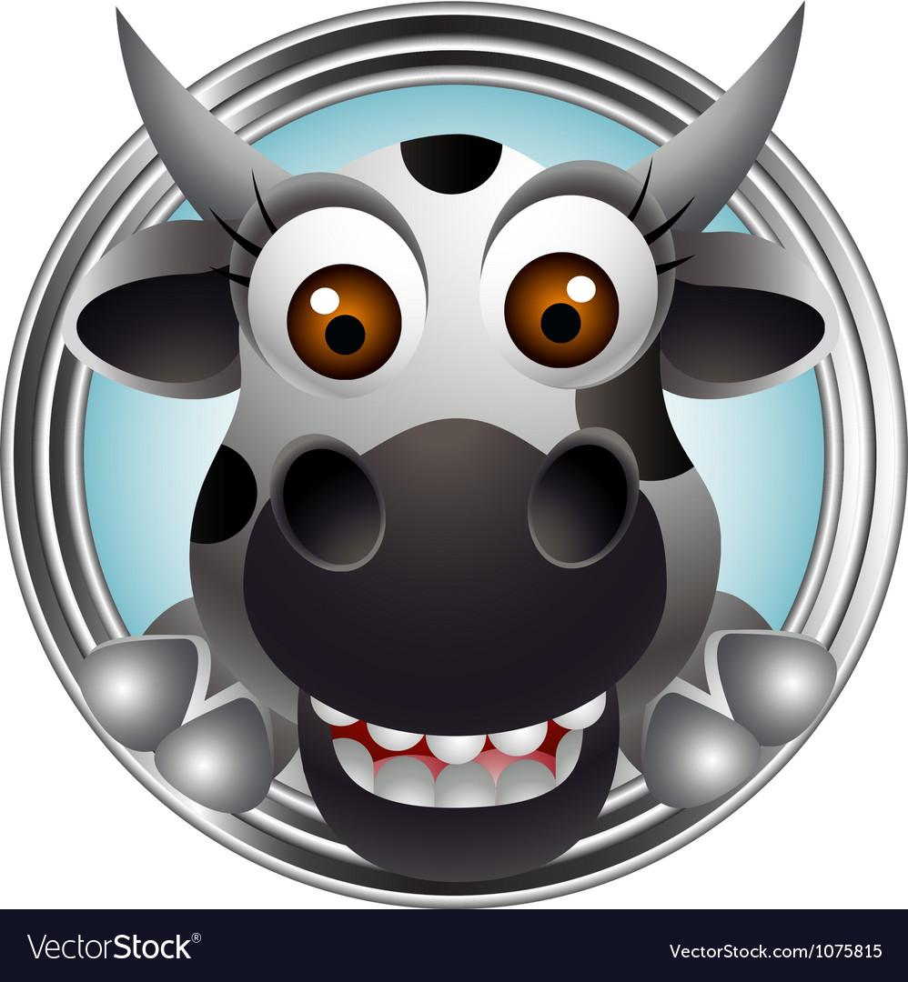 Cute cow head cartoon vector image