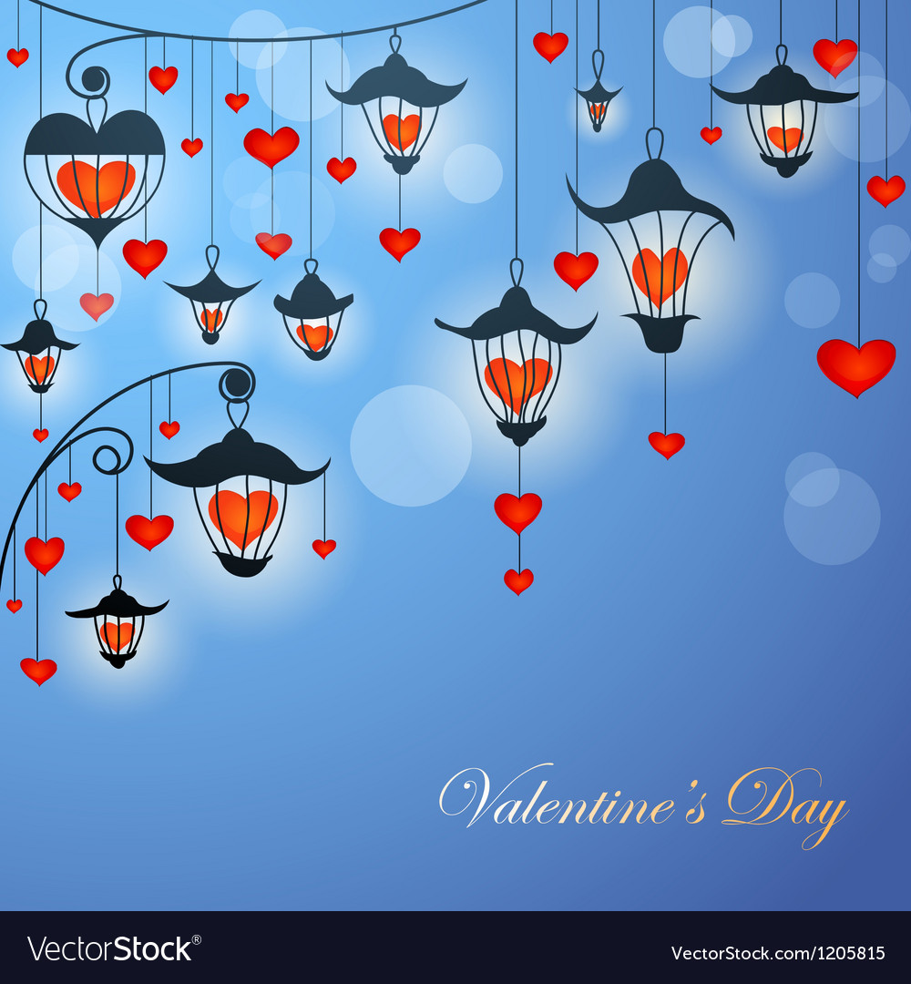 Romantic Valentine card with lanterns and hearts vector image