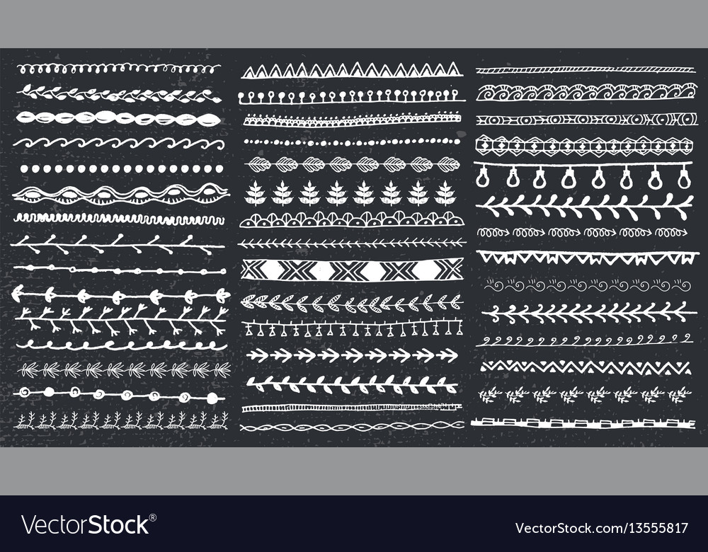 Hand drawn line border set and scribble vector image