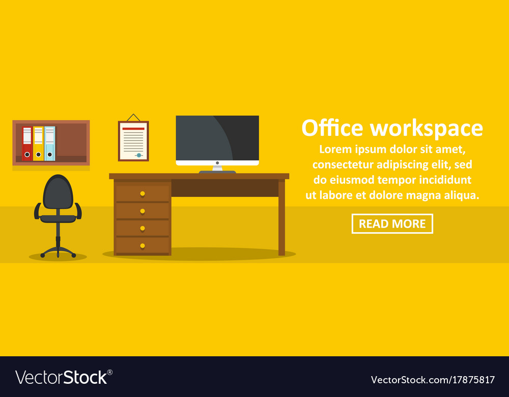 Office workspace banner horizontal concept vector image