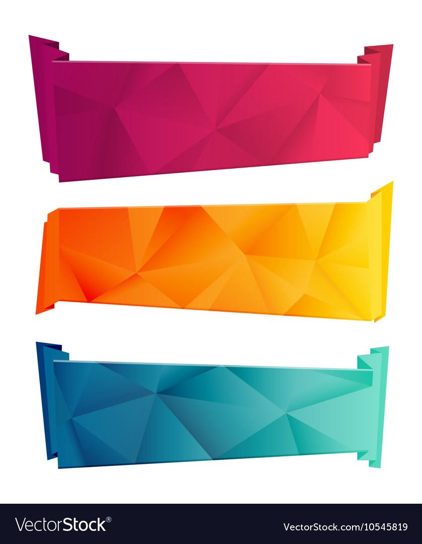 Color triangular ribbon and banner set Ribbons vector image