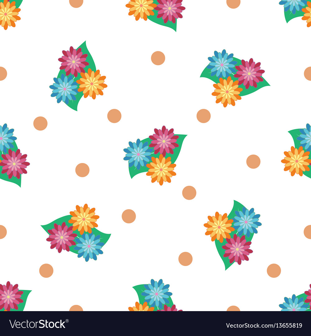 Flower and leaf seamless pattern vector image