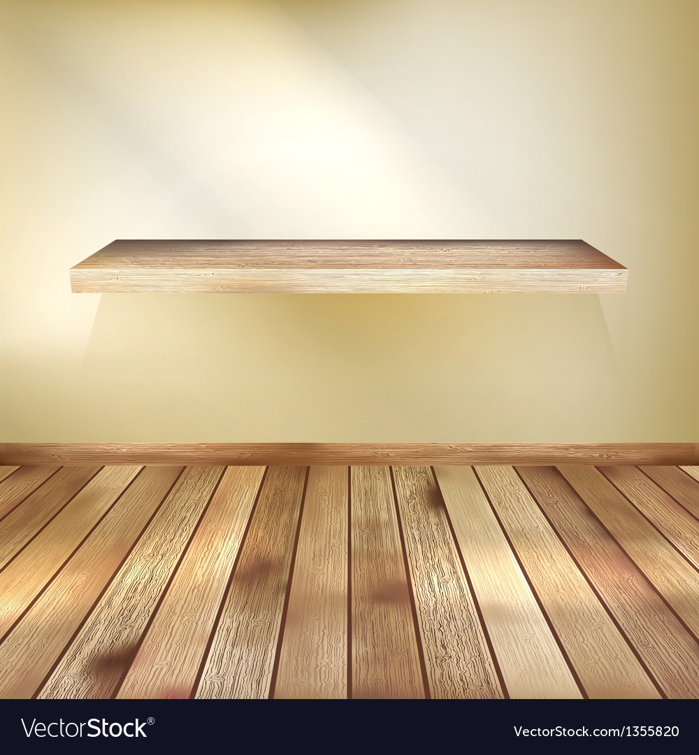 Interior wooden shelves free vector - Empty Interior With Wood Shelf Eps 10 Vector Image