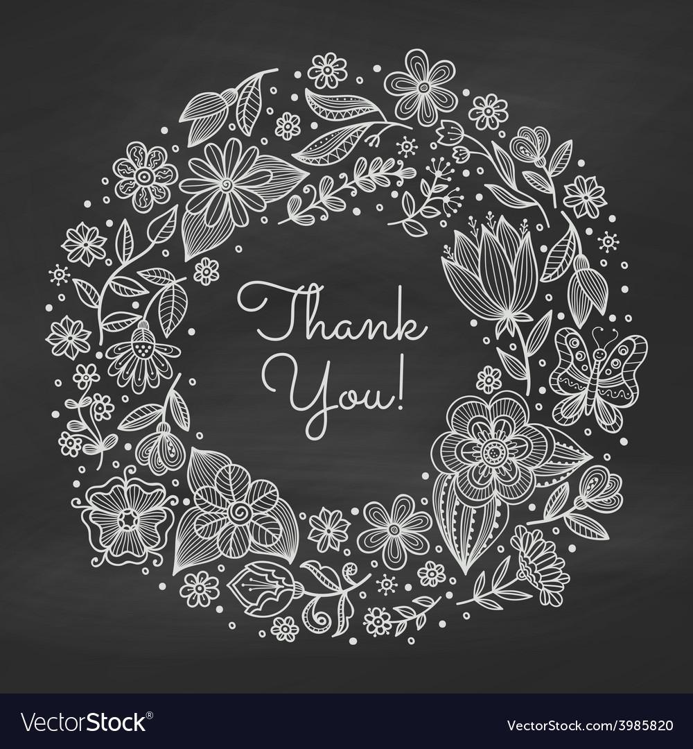 Chalk floral wreath vector image