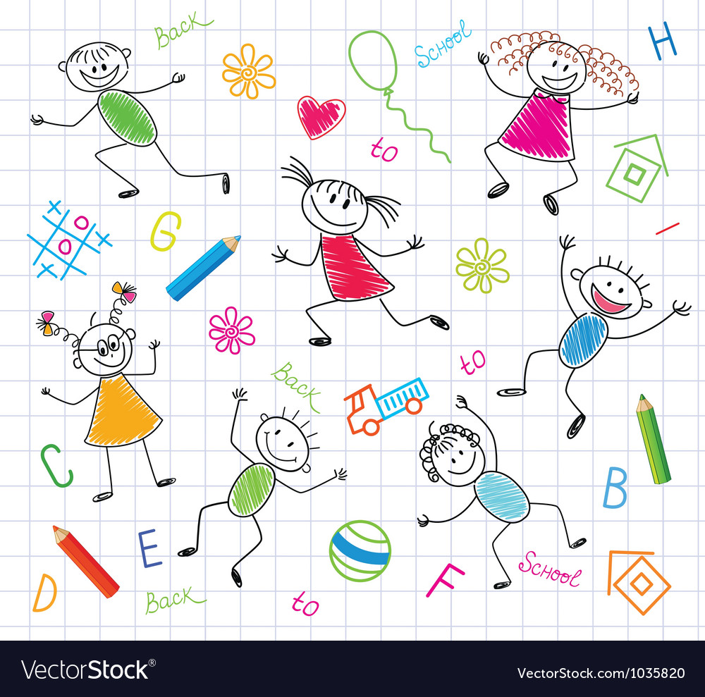 Funny children vector image