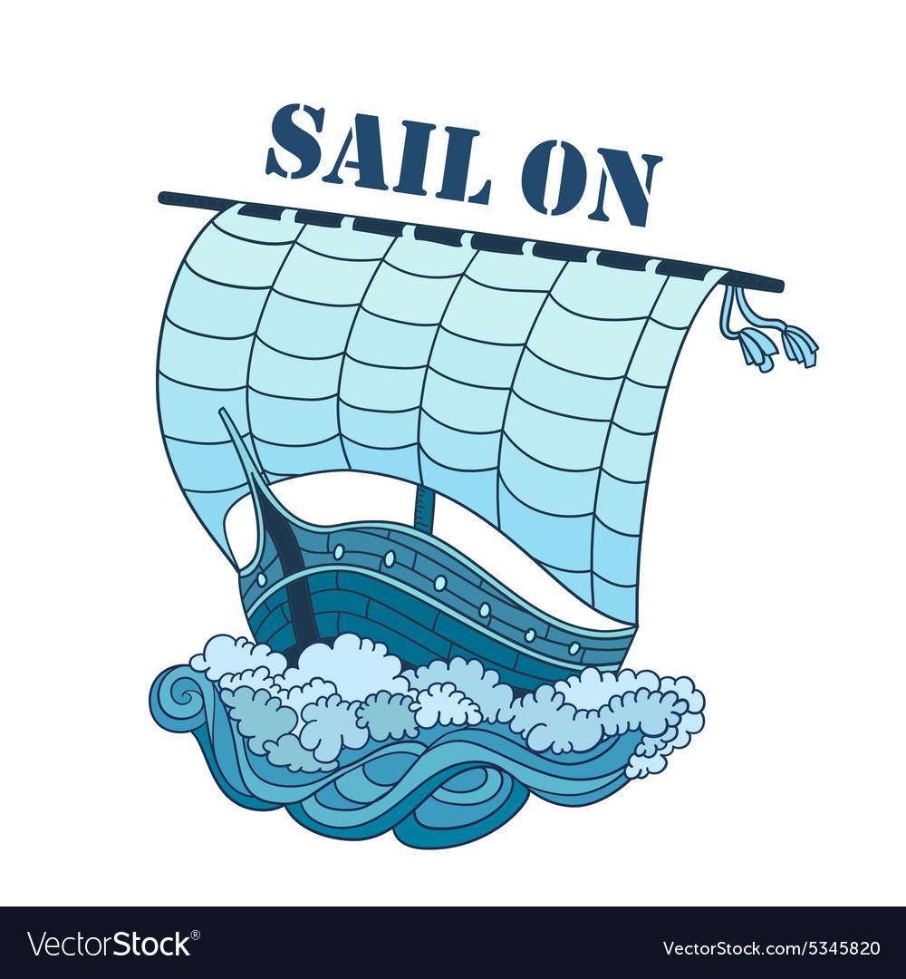 Sailing Boat on Waves decorative vector image