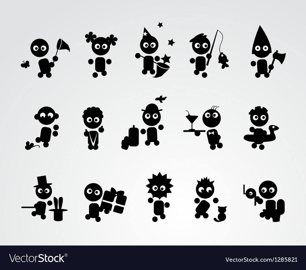 Black funny people icons vector image