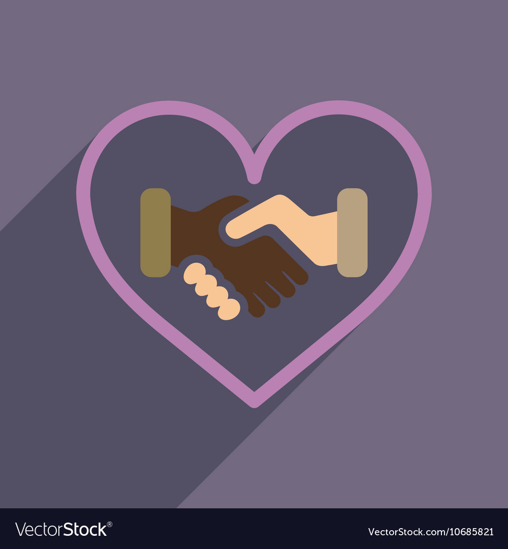 Flat web icon with long shadow handshake