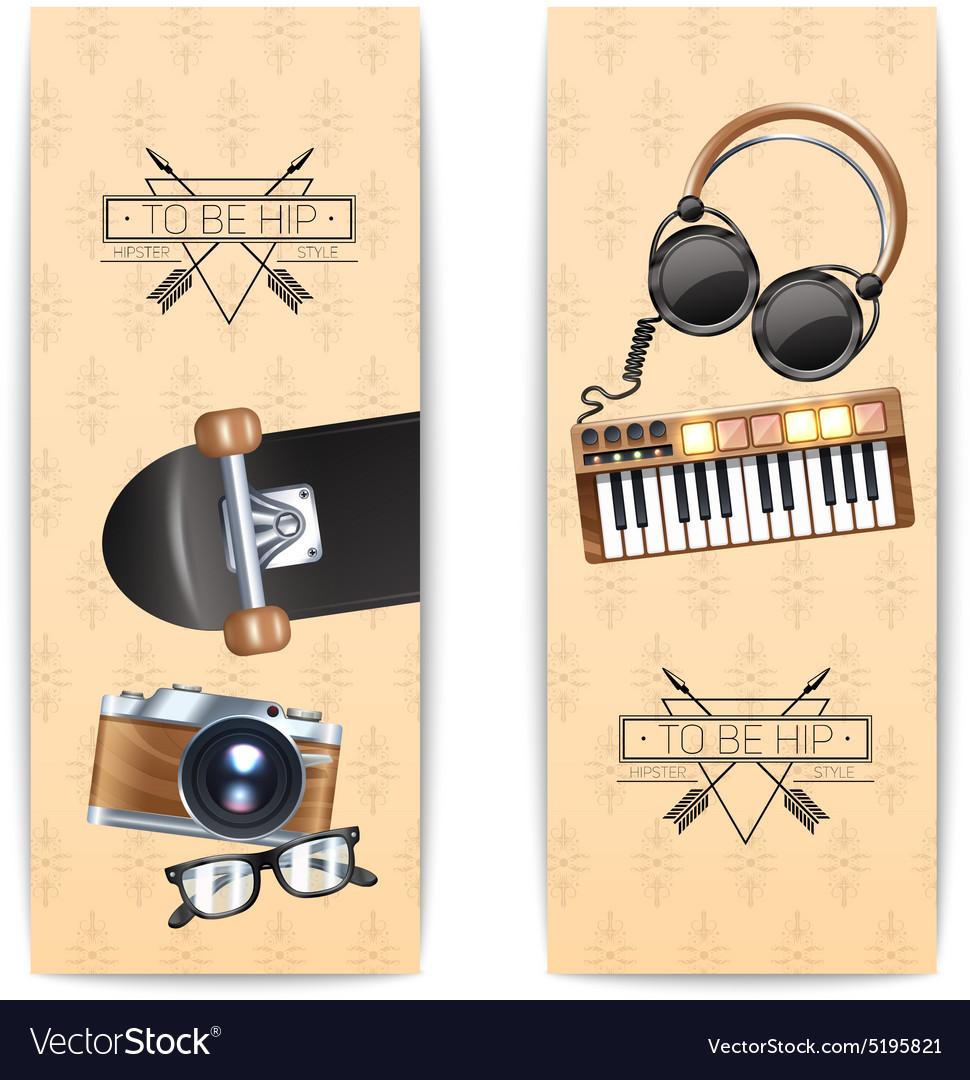 Hipster Banner Set vector image