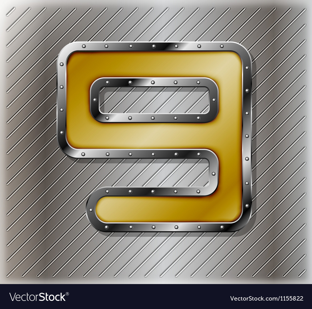 Metallic number nine vector image