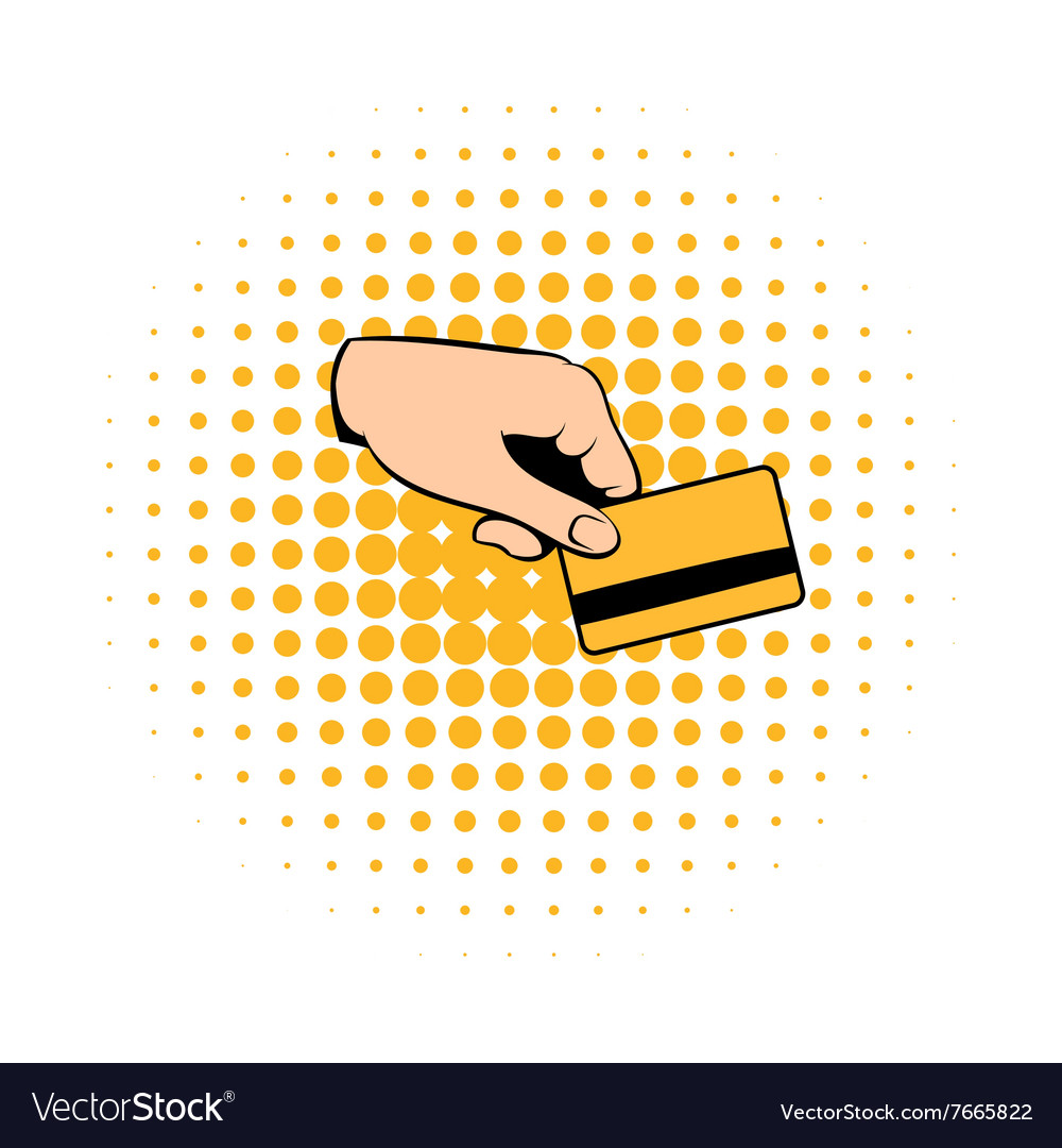 Credit card in hand comics icon vector image
