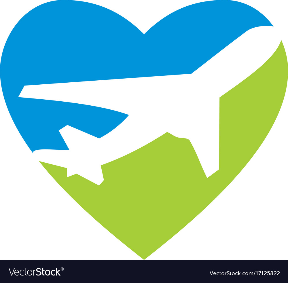 Love travel airplane logo vector image