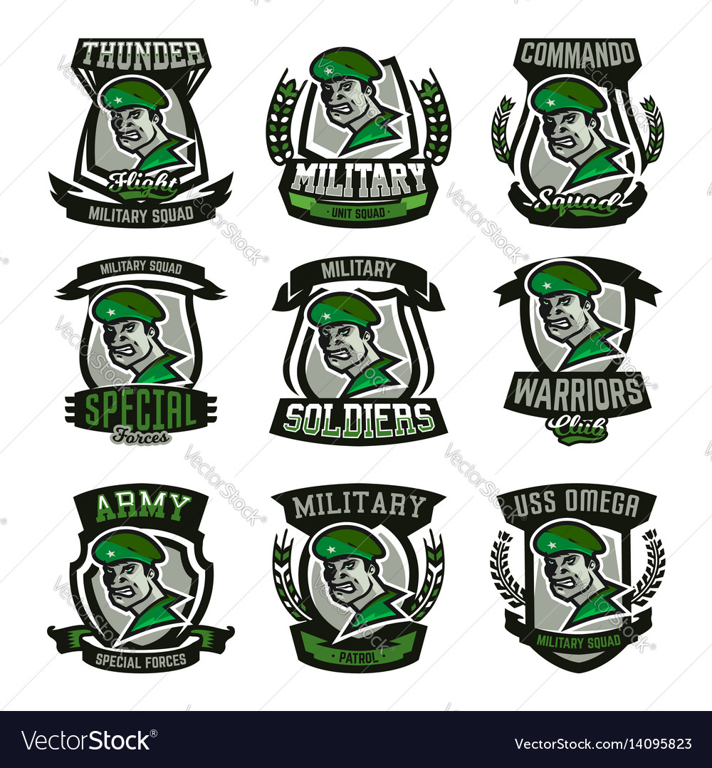 A collection of emblems logos military man vector image