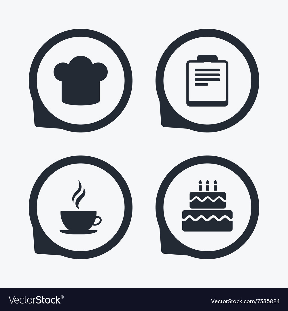 Coffee cup icon chef hat symbol birthday cake vector image coffee cup icon chef hat symbol birthday cake vector image biocorpaavc