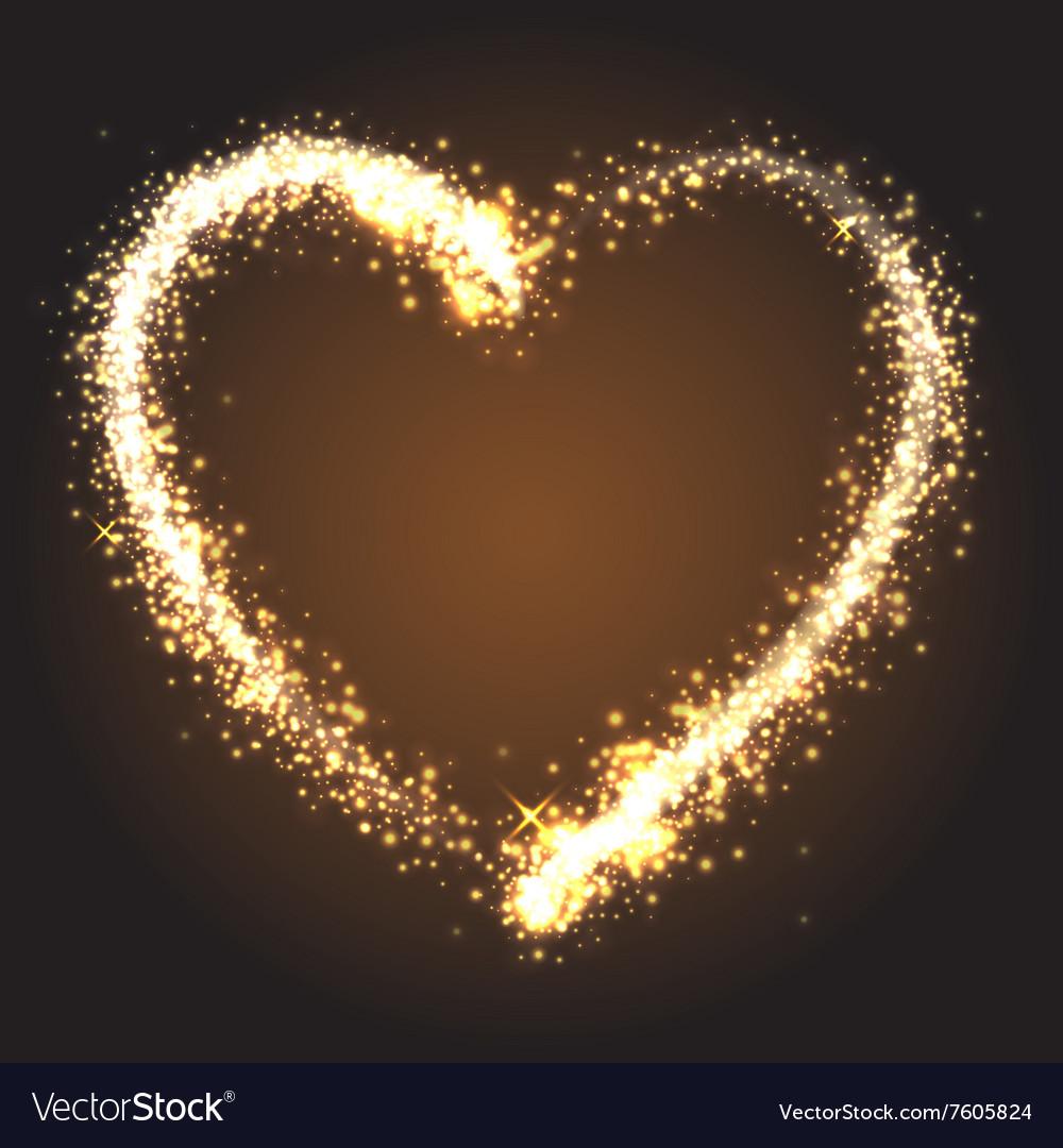 Sparkling golden heart vector image