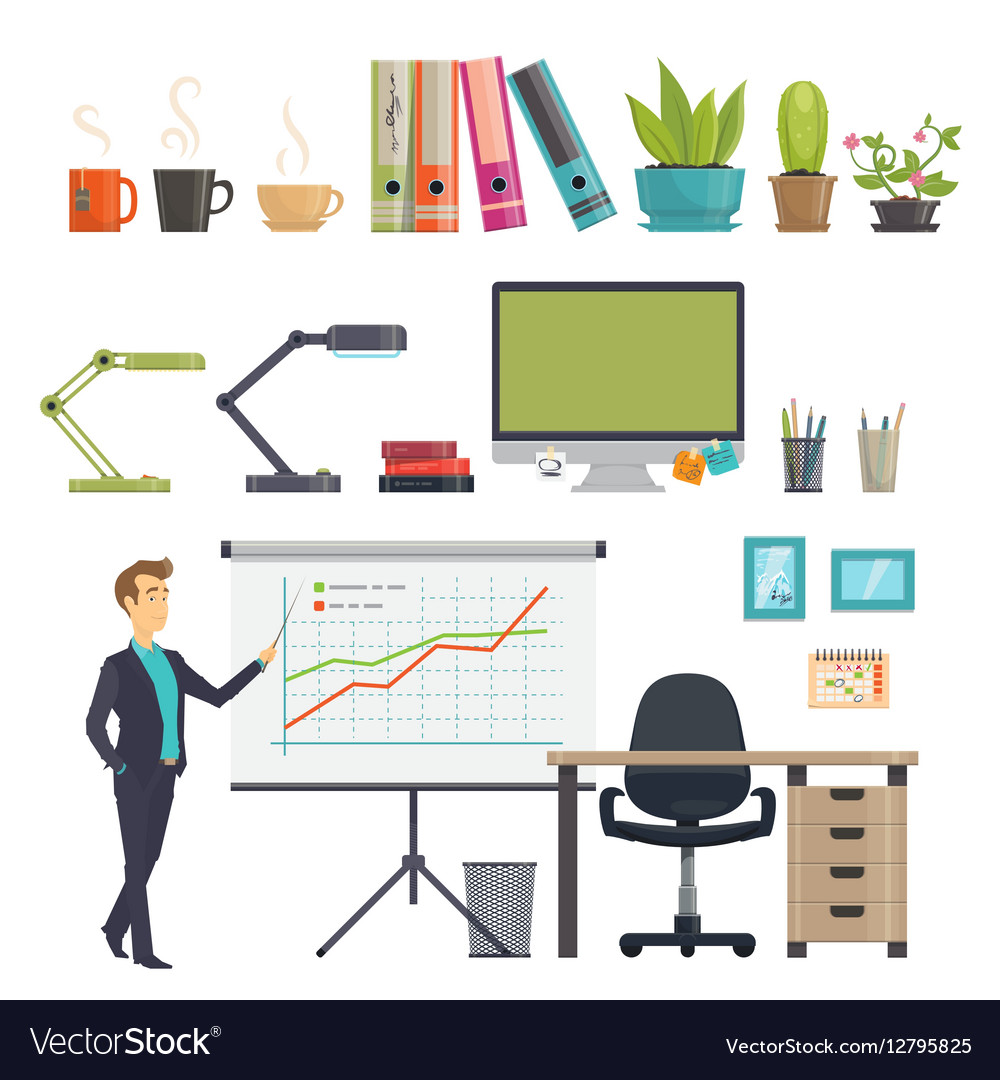 Colorful Business Workplace Icons Set vector image