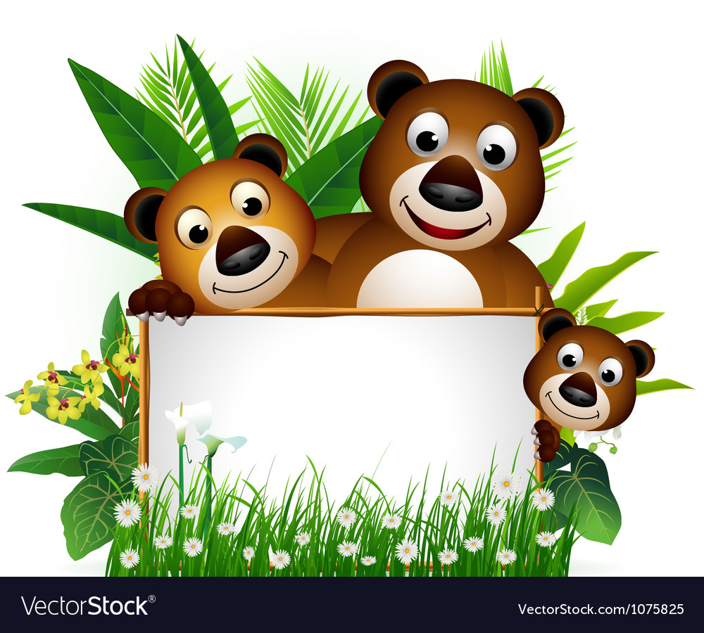 Funny brown bear family vector image