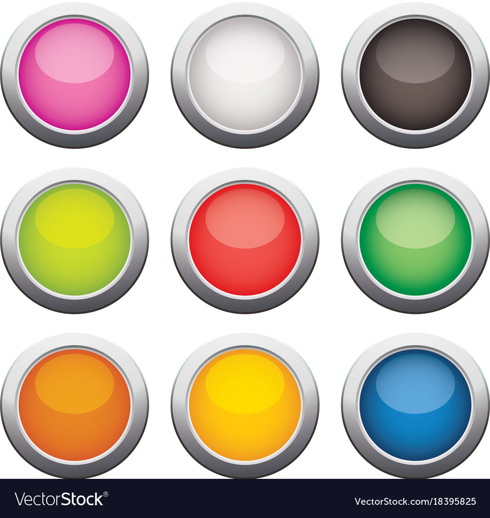 Glossy glass buttons vector image