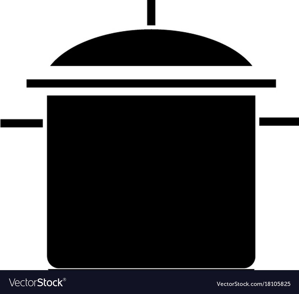 Pot big icon black sign on vector image